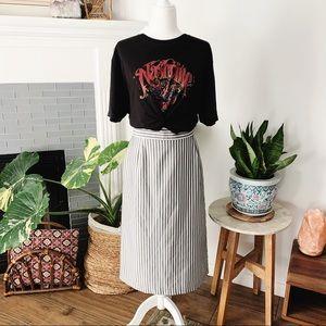 Dresses & Skirts - Vintage • Gray & White Vertical Striped Midi Skirt
